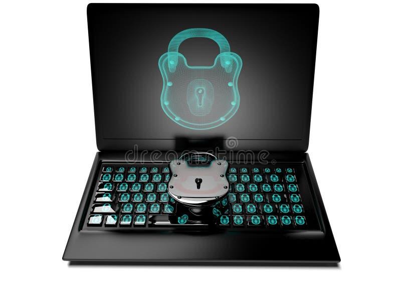 对键盘的真正锁,信息保障概念3d回报 库存例证