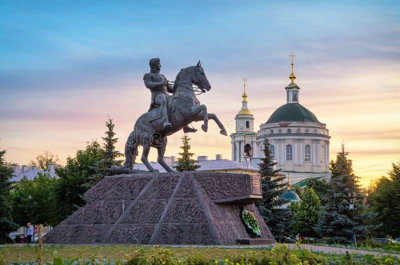 对阿列克谢Ermolov将军的纪念碑在奥廖尔州,俄罗斯 免版税库存照片