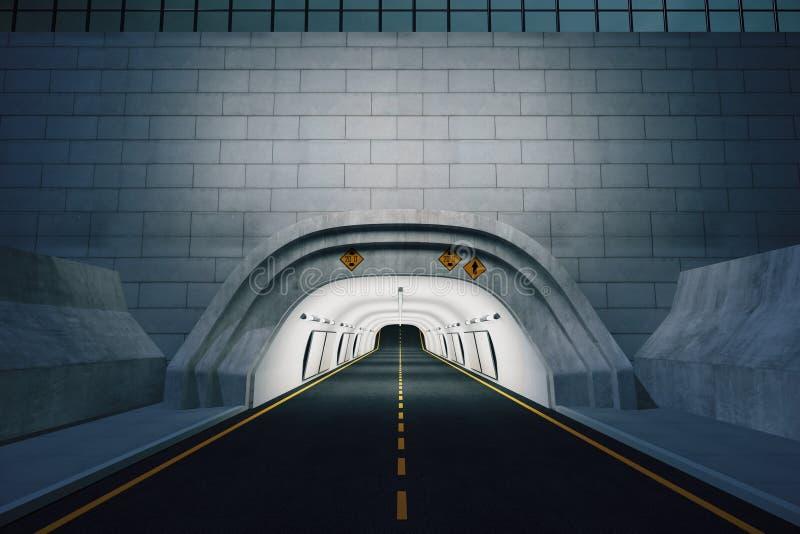 对隧道的入口在晚上 向量例证