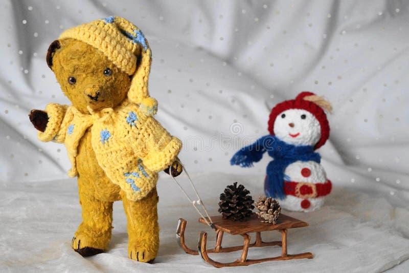 对雪橇的熊Morulet 库存图片