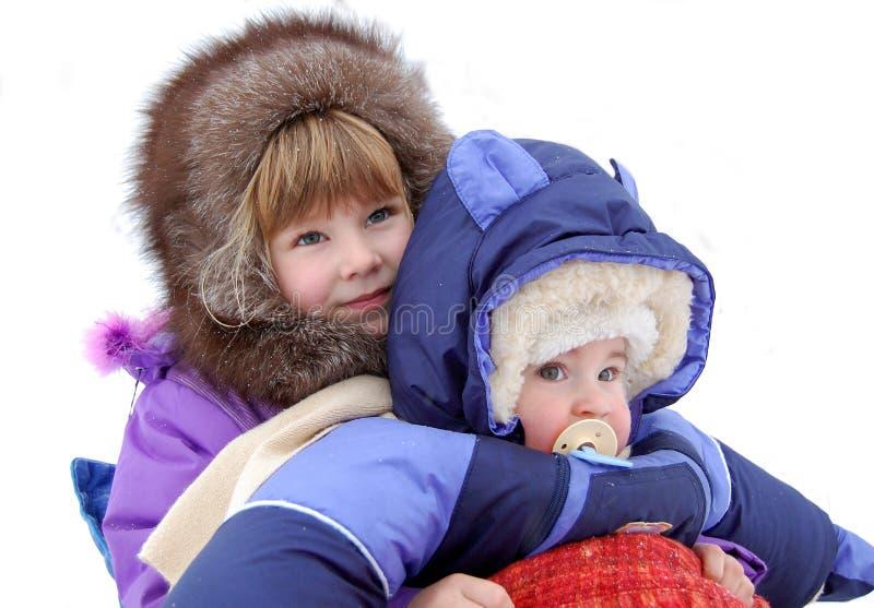 对非常的儿童高兴的小的雪 图库摄影
