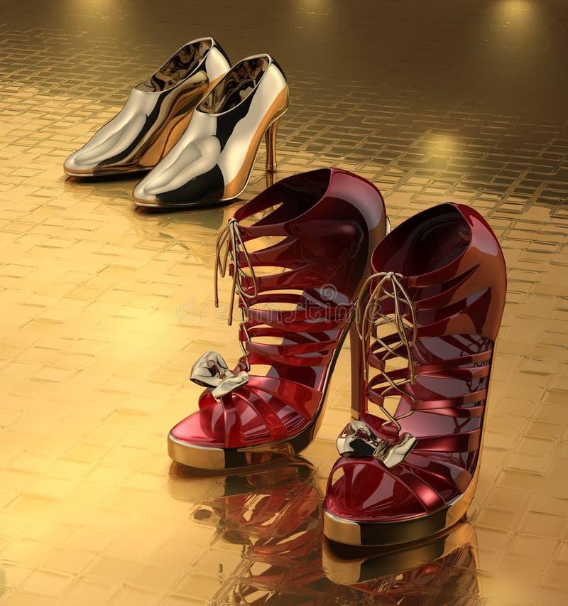 对鞋子二 向量例证