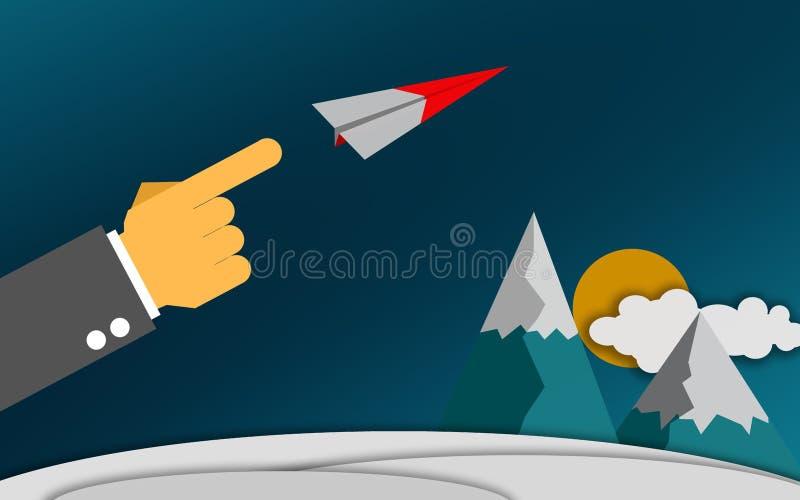 对飞行的纸飞机的手指点 向量例证