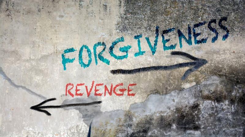 对饶恕的墙壁街道画对复仇 皇族释放例证