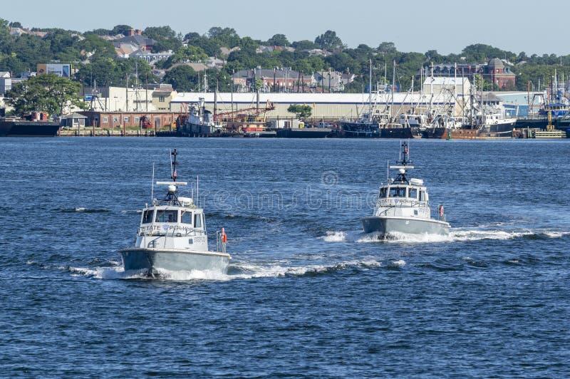 对马萨诸塞状态警察巡逻艇 免版税库存图片