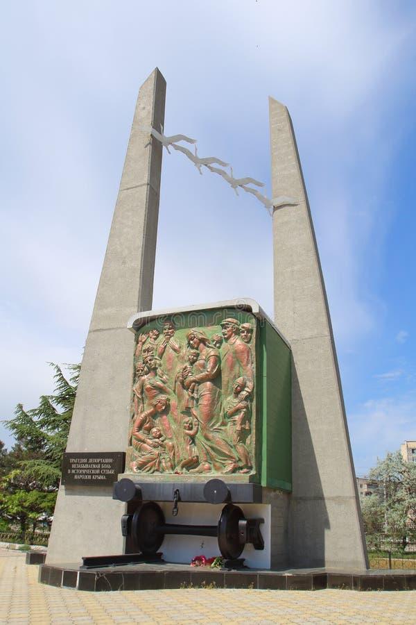 对驱逐出境的受害者的纪念碑在Evpatoria镇,克里米亚 库存图片
