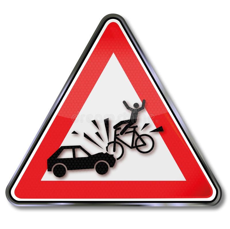 对骑自行车的人和车祸的尊敬 库存例证