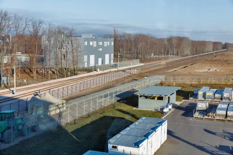 对鲍里斯皮尔机场的铁路 基辅,乌克兰 免版税库存照片