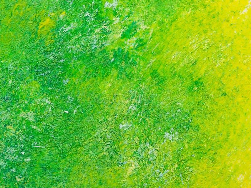 对黄色的绿色油画纹理 库存照片