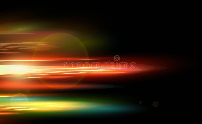 对黑暗的背景的抽象光滑的红色,蓝色,黄色行动光线影响与纤维 高速在夜 库存例证