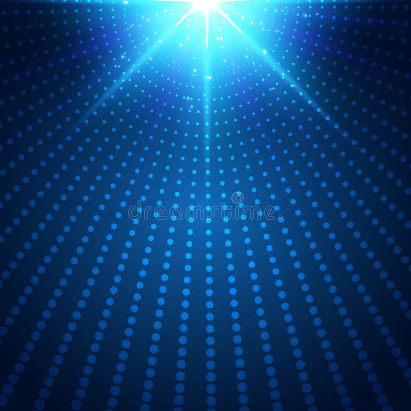 对黑暗的背景的摘要技术未来派蓝色霓虹辐形光爆炸作用 数字元素圈子中间影调 库存例证