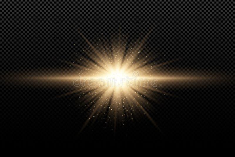 对黑暗的透明背景的金黄时髦的光线影响 金黄不可思议的光芒和飞行的金黄闪烁 明亮的展开 库存例证