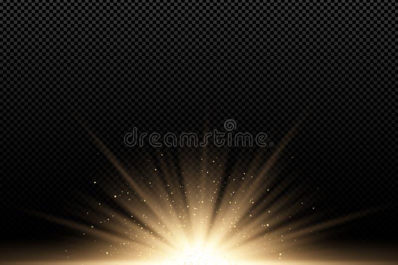 对黑暗的透明背景的金黄时髦的光线影响 金黄光芒 明亮的展开 飞行的金黄不可思议的尘土阳光 皇族释放例证