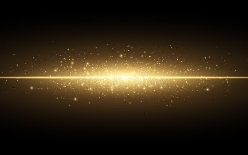 对黑背景的抽象时髦的光线影响 金发光的霓虹线 金黄光亮尘土和强光 一刹那光 luminou 库存例证