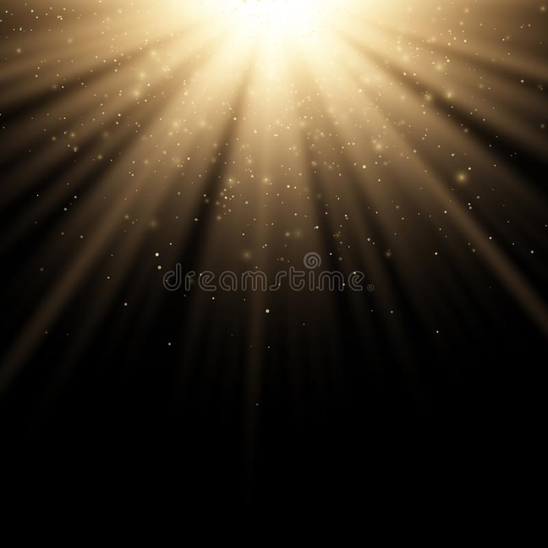 对黑背景的金黄时髦的光线影响 金黄光芒 明亮的展开 飞行的金黄不可思议的尘土阳光 圣诞节 向量例证
