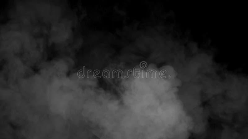 对黑背景的雾和薄雾作用 烟纹理 免版税库存照片