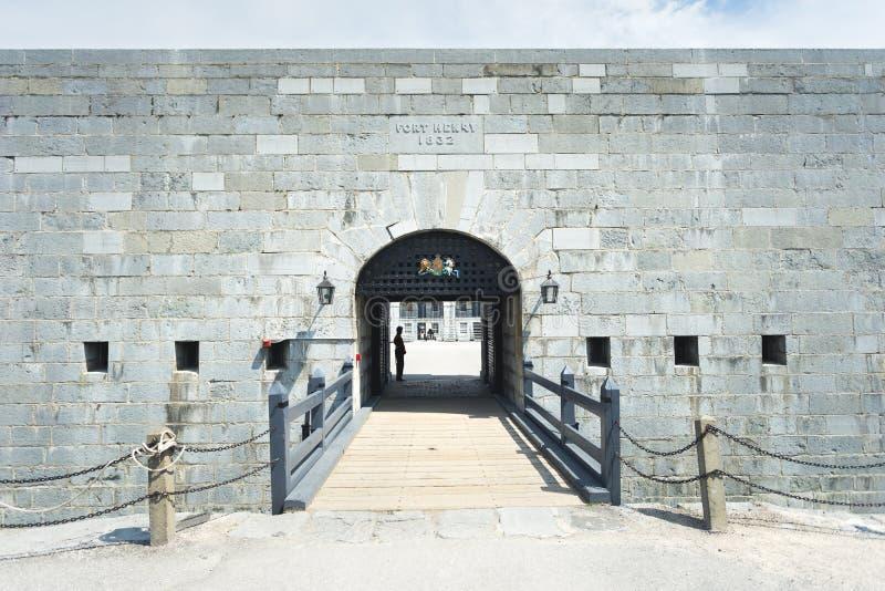 对19世纪堡垒站点的入口 免版税库存图片