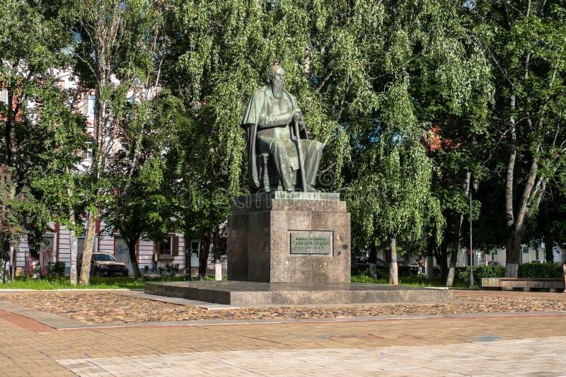 对19世纪萨尔特科夫的主要俄国讽刺作家的Shchedrin纪念碑在市特维尔,俄罗斯 库存图片