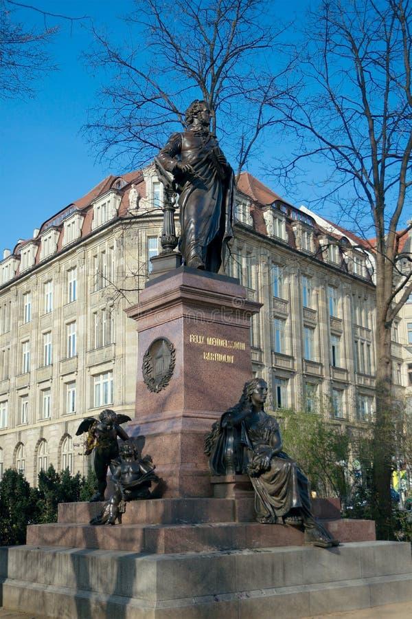 对费利克斯・门德尔松,莱比锡的纪念碑 免版税库存图片