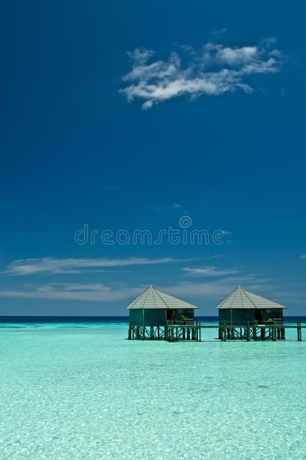 对水别墅马尔代夫 免版税库存图片
