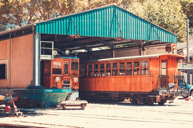 对索勒,马略卡的火车 图库摄影