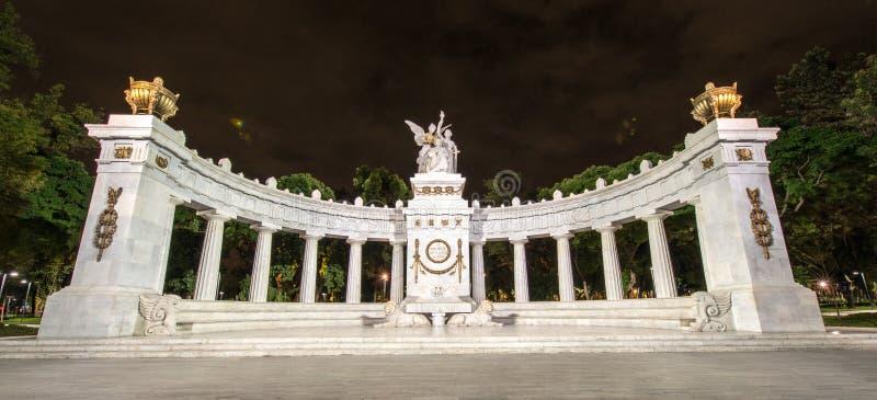 对贝尼托华雷斯的纪念碑在墨西哥城 免版税库存照片