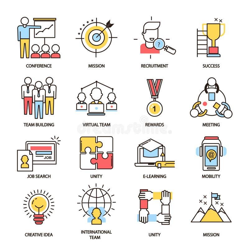 对组织工作营业通讯概述象传染媒介一起隔绝了teamworking的命令 向量例证