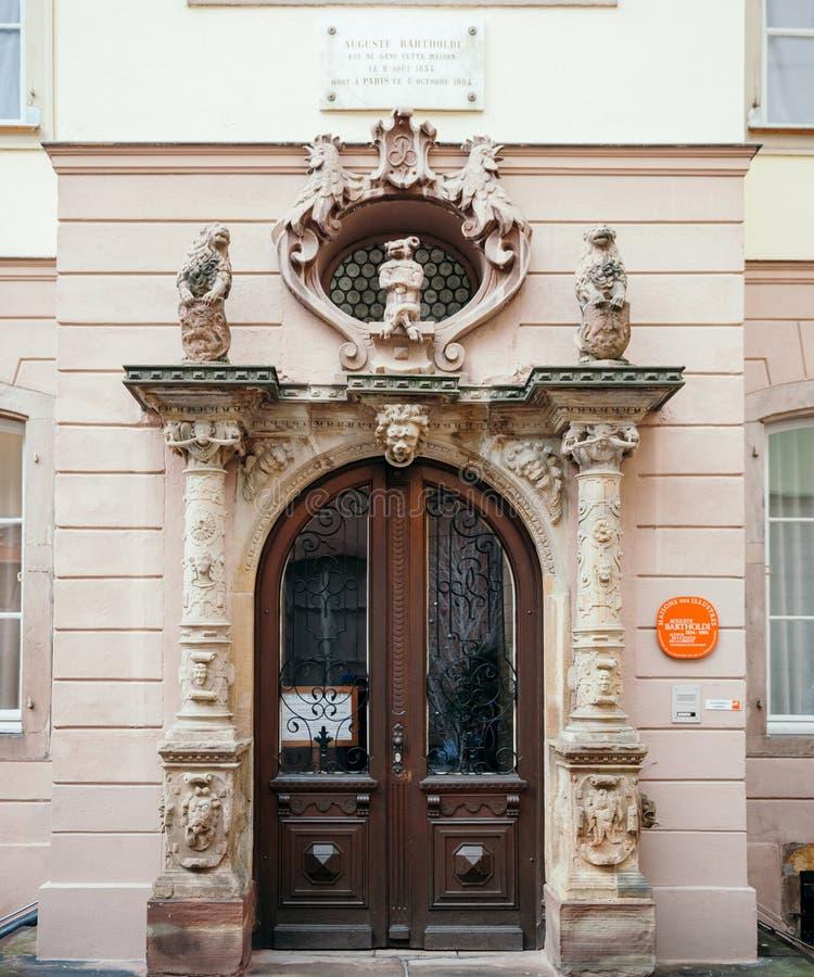 对8月Bartholdi博物馆的大门 库存图片