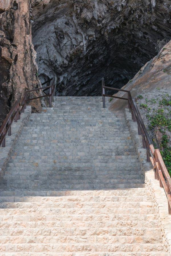 对洞穴的梯板在阿尔塔在马略卡,西班牙 图库摄影