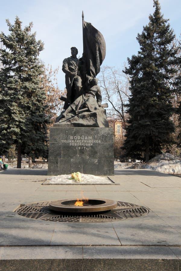 对1917的社会主义革命的年战斗机的纪念碑 免版税库存图片