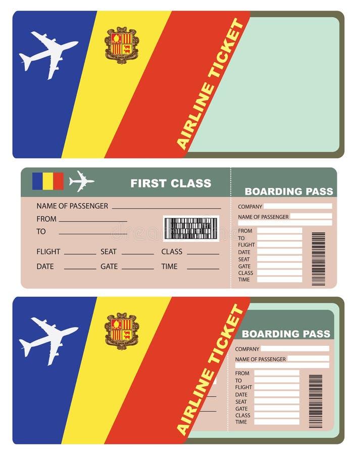 对头等安道尔的飞机票 库存例证