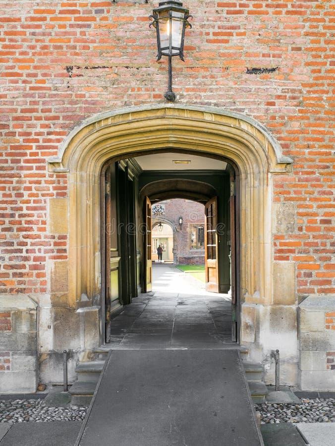 对从良的妓女学院,剑桥,英国的入口 免版税库存照片