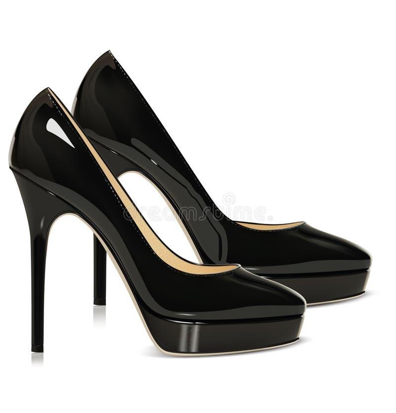 对黑鞋子 免版税库存图片