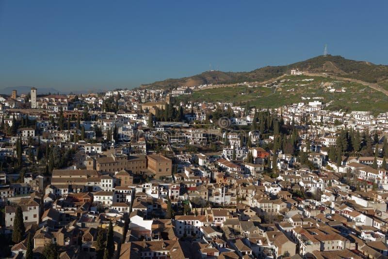 对Albayzin,格拉纳达,西班牙的视图 库存图片