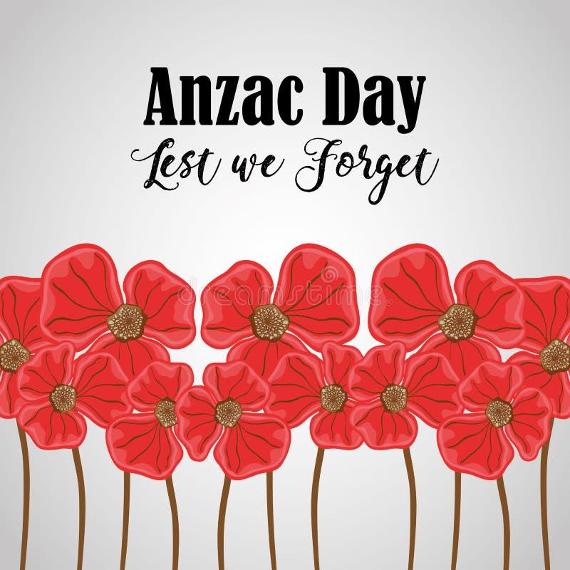 对anzac假日和纪念战争的花 库存例证