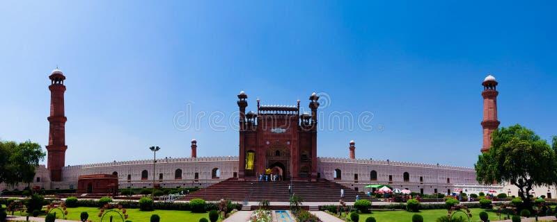 对Badshahi的外视图或皇家清真寺在拉合尔,巴基斯坦 库存图片