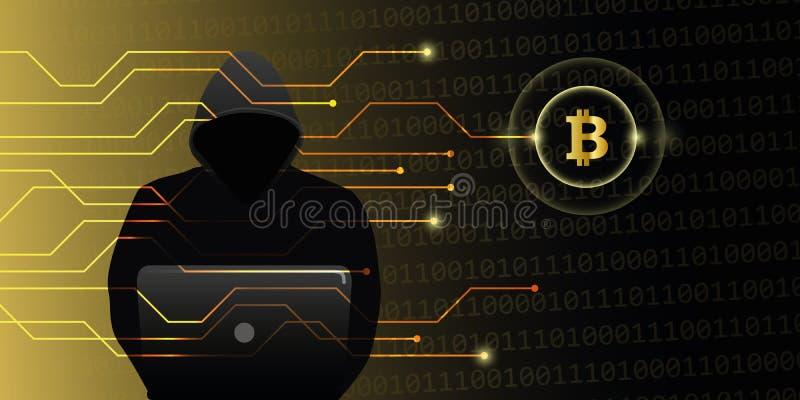 对bitcoins隐藏货币网网络罪行的黑客攻击 库存例证