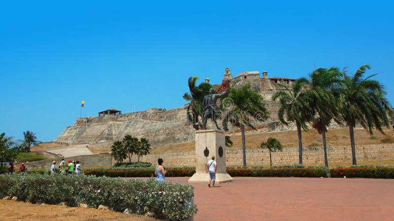 对Blas在卡斯蒂略圣费利佩de巴拉哈斯旁边的de Lezo的纪念碑 库存照片