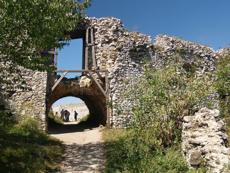 对Cachtice城堡庭院的门  免版税库存照片