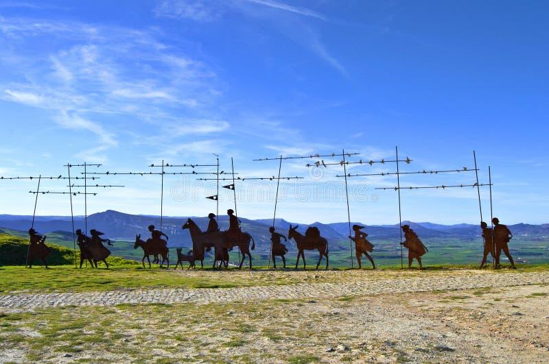 对Camino de圣地亚哥的纪念碑 免版税库存图片