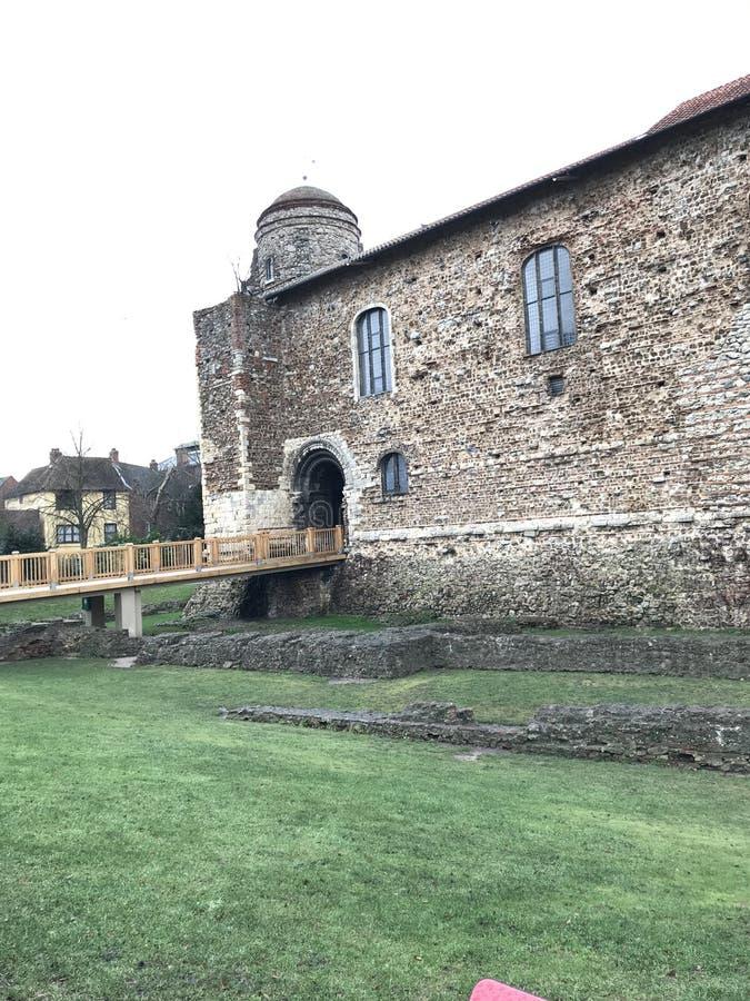 对Cochester城堡博物馆,一个多层的诺曼底,撒克逊人和罗马大厦的入口 免版税库存照片