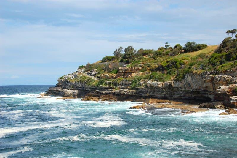 对Coogee沿海步行,悉尼,澳大利亚的Bondi。 库存图片