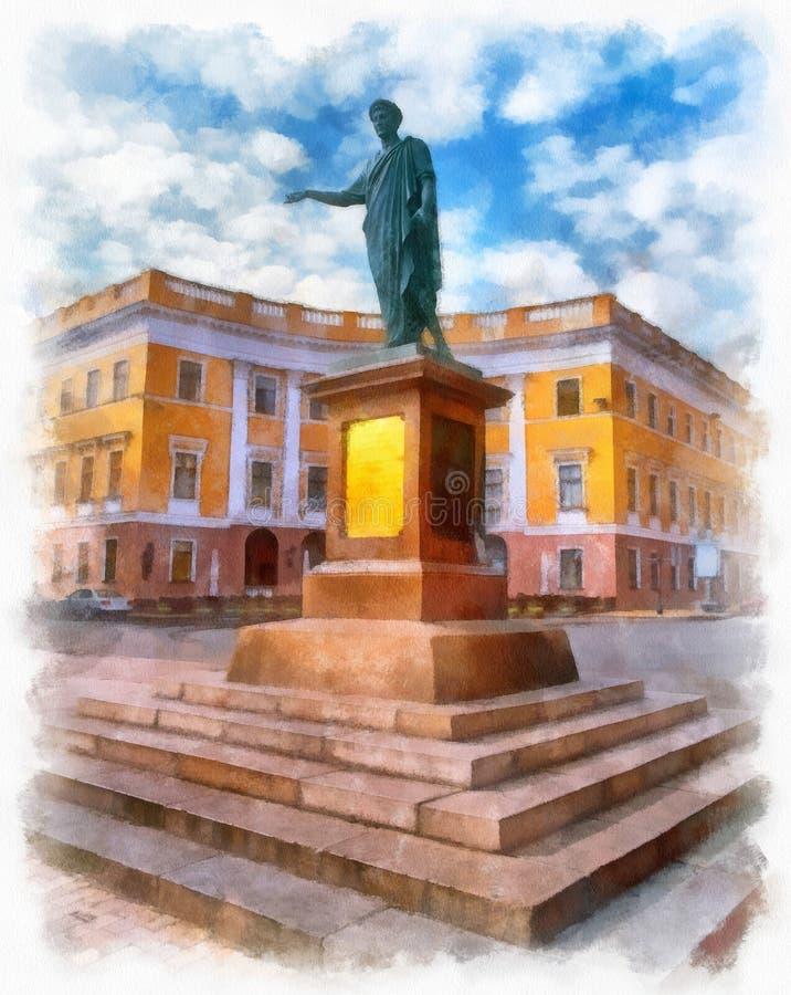 对de Richelieu公爵的纪念碑在傲德萨,乌克兰 皇族释放例证