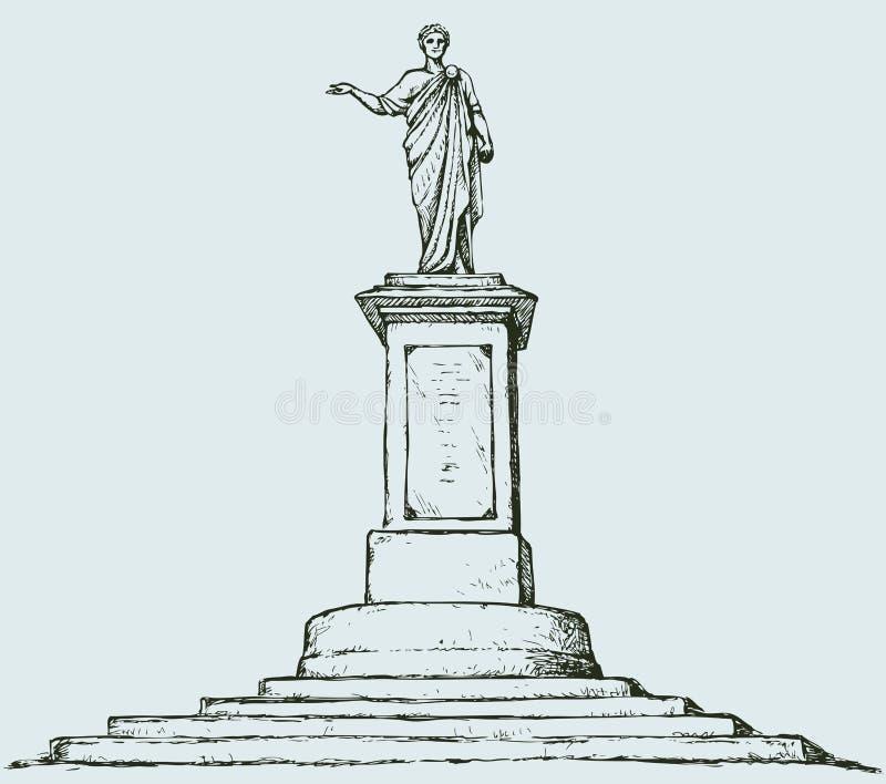 对de Richelieu公爵的纪念碑 傲德萨乌克兰 传染媒介剪影 向量例证
