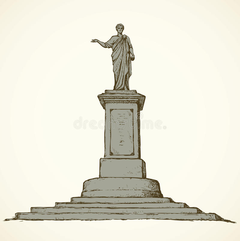 对de Richelieu公爵的纪念碑 傲德萨乌克兰 传染媒介剪影 库存例证