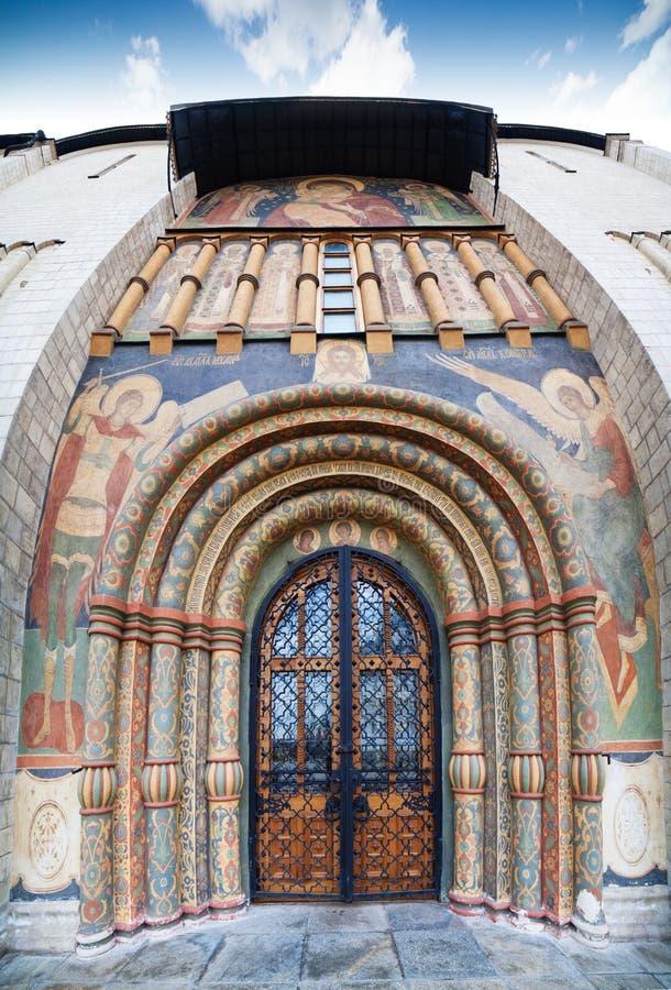 对Dormition的大教堂的入口 免版税库存图片