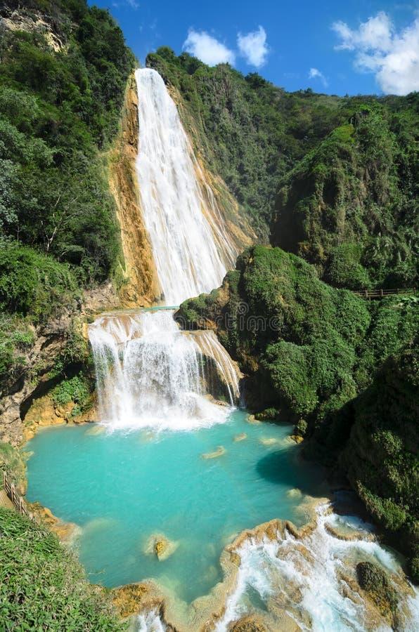 对El Chiflon瀑布的惊人的看法 库存照片