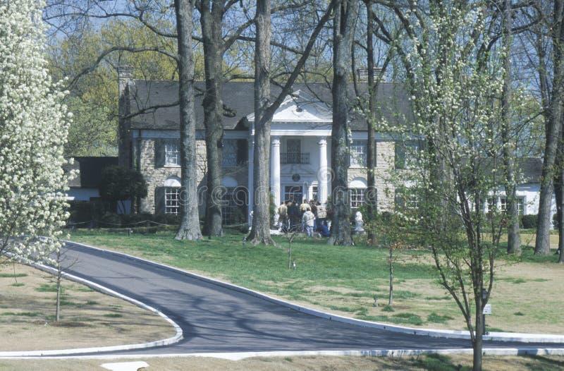 对Graceland,埃尔维斯・皮礼士利,孟菲斯, TN的家的入口 库存图片