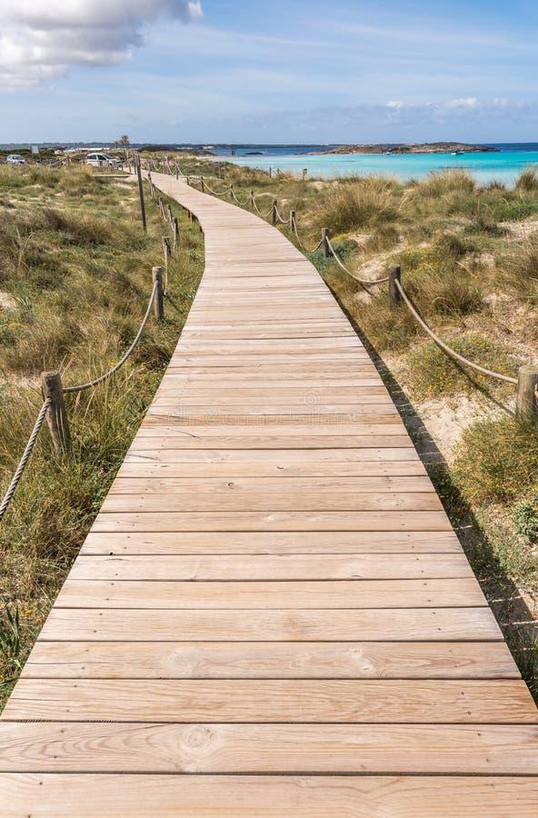 对Illetes海滩的海滩方式在Formentera 免版税库存图片