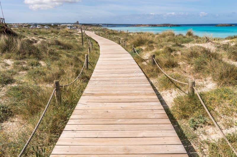 对Illetes海滩的海滩方式在Formentera 免版税库存照片